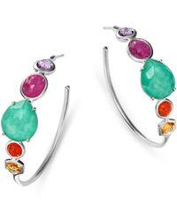 Ippolita - Sterling Silver Rock Candy Turquoise Doublet & Multi Gemstone Hoop Earrings - Lyst