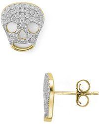 04b870e66 Steve Madden Silvertone Crystal Skull Hoop Earrings in Metallic - Lyst