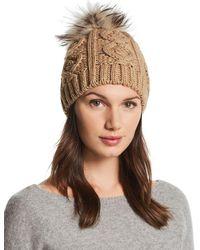 Echo - Fur Pom-pom Cable-knit Beanie - Lyst