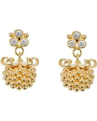 Temple St. Clair | 18k Yellow Gold Large Pod Drop Earrings With Diamonds | Lyst