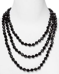 Carolee - Black Faceted Bead Rope Necklace - Lyst