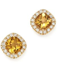 Bloomingdale's - Citrine Cushion Cut And Diamond Stud Earrings In 14k Yellow Gold - Lyst