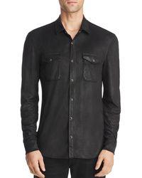 233fe25f4017b Lyst - John Varvatos Coated Cotton Western Shirt in Black for Men