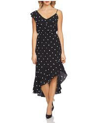 1.STATE - Asymmetric Dot Ruffle Midi Dress - Lyst