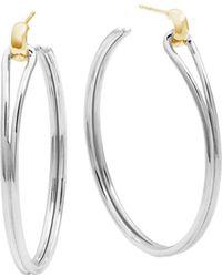 Shinola - 14k Yellow Gold & Sterling Silver Large Lug Hoop Earrings - Lyst