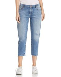 Eileen Fisher - Tapered Crop Jeans In Abraided Sky Blue - Lyst