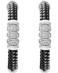 Lagos - Sterling Silver Black Caviar Diamond & Black Ceramic Hoop Earrings - Lyst