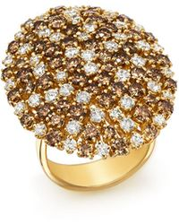 Roberto Coin | 18k Yellow Gold Brown & White Diamond Cluster Ring | Lyst