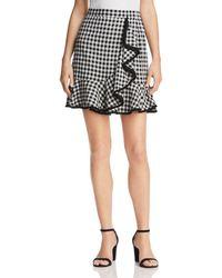 Aqua - Gingham Fringe-trim Skirt - Lyst