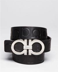 Ferragamo | Gamma Embossed Leather Double Gancini Belt | Lyst