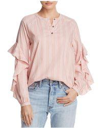 Ella Moss | Ruffle-trim Striped Shirt | Lyst