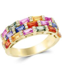 Bloomingdale's - Multicolor Sapphire And Diamond Ring In 14k Yellow Gold - Lyst