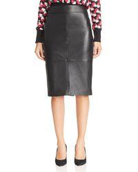 BOSS - Selrita Lamb Leather Pencil Skirt - Lyst