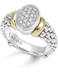 Lagos - 18k Gold And Sterling Silver Diamond Twilight Ring - Lyst