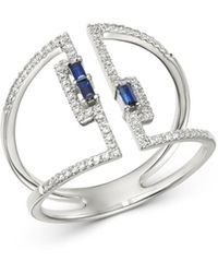 KC Designs - 14k White Gold Diamond & Blue Sapphire Open Ring - Lyst