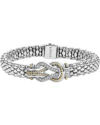 Lagos - Sterling Silver And 18k Gold Newport Diamond Caviar Bracelet - Lyst