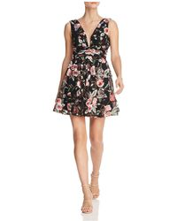 Aqua - Embroidered Fit-and-flare Dress - Lyst