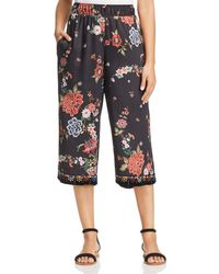Johnny Was - Velvet-trim Cropped Wide-leg Trousers - Lyst