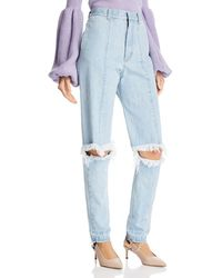 Ksenia Schnaider - Cutout Straight Jeans In Light Blue - Lyst