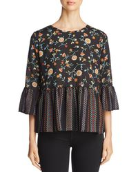 Status By Chenault - Floral Print Ruffle-trim Top - Lyst