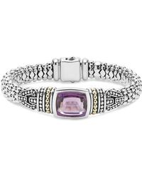 Lagos - 18k Gold And Sterling Silver Caviar Colour Bracelet With Rose De France Amethyst - Lyst