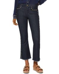 MICHAEL Michael Kors - High-rise Cropped Studded Flared Jeans In Rinse Wash - Lyst