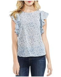 Vince Camuto - Whisper Ditsy Floral Ruffle-sleeve Top - Lyst