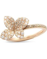 Pasquale Bruni - 18k Rose Gold Secret Garden Four Petal Flower Pavé Diamond Ring - Lyst
