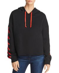Generation Love - Lindsay Lace-up Sleeve Hooded Sweatshirt - Lyst