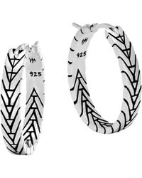 John Hardy - Sterling Silver Modern Chain Silver Small Hoop Earrings - Lyst