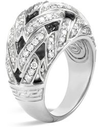 John Hardy - Classic Chain Sterling Silver Diamond Pavé Dome Ring - Lyst