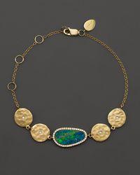 Meira T - 14k Yellow Gold Opal Disc Bracelet With Diamonds - Lyst