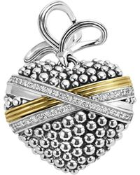 Lagos - 18k Gold And Sterling Silver Caviar Bead Heart Charm Pendant With Diamonds - Lyst