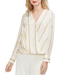 Vince Camuto - Striped Crossover Top - Lyst