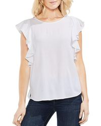 Vince Camuto - Textured Ruffle-sleeve Top - Lyst