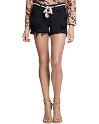 Sanctuary - Belted Distressed Denim Shorts In Faded Black - Lyst