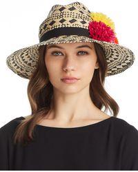 Helene Berman - Pom-pom Trim Geometric Panama Hat - Lyst