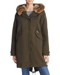 2722b7fecee The Kooples Cotton Twill Parka With Fur-lined Hood in Blue - Lyst