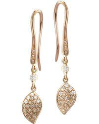 Pasquale Bruni - 18k Rose Gold Secret Garden Petal Pavé Diamond Drop Earrings - Lyst
