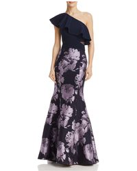 Aqua | One-shoulder Brocade Gown | Lyst