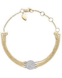 Meira T - 14k White Gold And Yellow Gold Pavé Diamond Disc Bracelet - Lyst