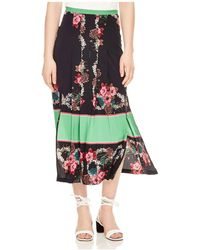 Sandro - Devy Color-blocked Floral Midi Skirt - Lyst