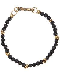 John Varvatos - Lava Bead & Brass Skulls Bracelet - Lyst