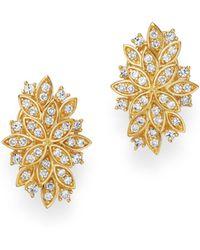 Bloomingdale's - Diamond Petal Earrings In 14k Yellow Gold - Lyst