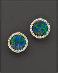 Meira T - 14k Yellow Gold Blue Opal And Diamond Stud Earrings - Lyst