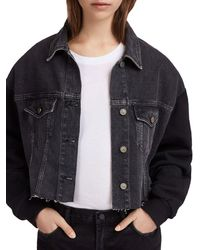 AllSaints - Anders Mixed Media Cropped Jacket - Lyst