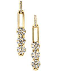 Hulchi Belluni - 18k Yellow Gold Tresore Diamond Trio Linear Drop Earrings - Lyst