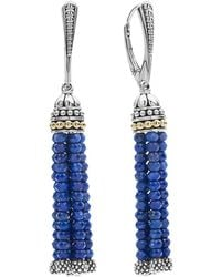 Lagos - 18k Gold And Sterling Silver Caviar Icon Lapis Tassel Drop Earrings - Lyst