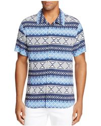 Surfside Supply - Geometric Stripe Short Sleeve Button-down Camp Shirt - Lyst
