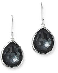Ippolita - Sterling Silver Wonderland Hematite And Clear Quartz Doublet Mini Teardrop Earrings - Lyst